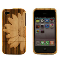 iPhone 4 4S 4G Genuine Bamboo Engraved 3D Flower Daisy Natural Wood Case Cover