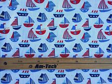 Nautical Red/Blue Boats Poly Cotton Kids Duvet Patchwork Quilting Craft Fabric