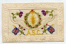 WW1. Carte postale Brodée. A.S.C. Army Service Corp. Postcard Embroidered . WAR