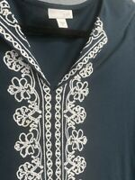 J Jill women's tunic shirt boho tassels and floral embroidery cotton modal XS