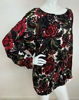 New Women's Plus 2X Black Multi/C Floral Peasant Long Sleeve Top Blouse Tunic