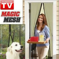 Mesh Magnetic Fly Screen Hands Free Mosquito Bug Door Curtain Hands Free Black