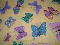 Vtg 90s Teal Pink Green Butterflys on Yellow Quilt Cotton Sew Fabric 44x43 pb4