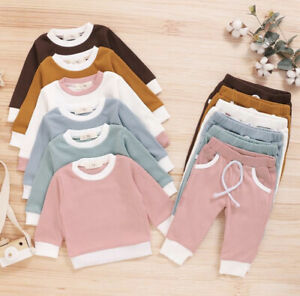 Baby Boy Girl Lounge Tracksuit Casual Ribbed Sweater and Trouser Set 0-18 Months