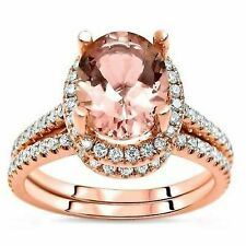 Morganite & Diamond Bridal Wedding Ring Set 14k Rose Gold