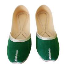 Women Shoes Mojari Handmade Traditional Indian Leather Green Jutties Flat US 6