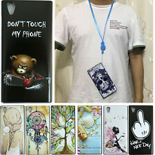 For Sony Xperia L1 TPU Silicon Gel Back Case Cover With Neck Strap