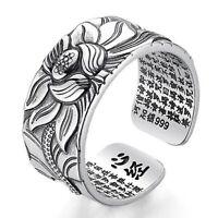 Frauen Ring Schmuck freie Größe öffnen Lotus Flower Silber Herz Sutra Geschenk