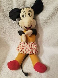 "Antique Vintage Minnie Mouse Rag Doll Plush Doll 11"""