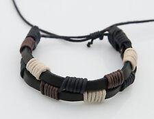 Bracelet bresilien cuir bijoux ethnique creation fait main-noir- BB576