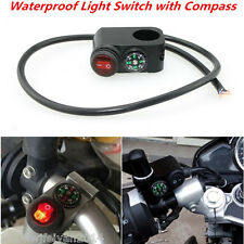 Motorcycle Waterproof Handlebar Headlight Fog Spot light On Off Switch w/Compass