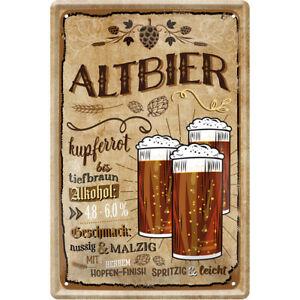 Altbier Bier 3 Gläser Blechschild Schild gewölbt 20 x 30 cm JKM C0800
