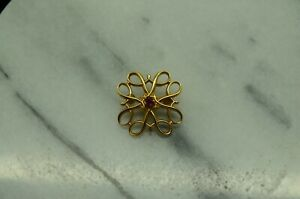 1/10 10K YELLOW GOLD FILLED SNOWFLAKE SMALL PIN BROOCH W/ PINK SAPPHIRE