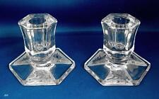 Pair of Candlesticks with Cut Glass / Frosted  Base