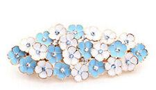 Luxury Ocean Blue & White Flowers Rhinestones Hair Barrette Accessories HA117