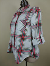 Victorias Secret Women's Night Shirt Cotton Plaid Button front Sleepshirt SIZE S