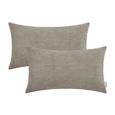 Pack of 2 Pillow Cover Home Decor Comfortable Corduroy Stripes 12x20 Taupe