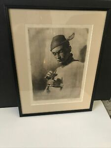 Hanus Hans Schwaiger Pencil Etching Man With Flute Signed Framed Matted