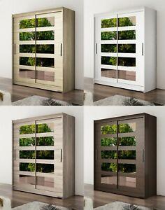 "New Modern Bedroom Wardrobe ""WENDY 5"" Mirror Sliding Doors Hanging Rail Shelves"