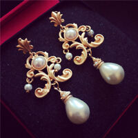 Vintage Baroque Style Flower Pearl Earrings Women Costume Wedding Party Earring