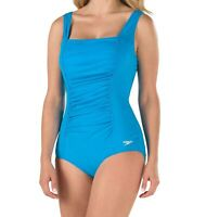 Speedo Women's Swimwear Blue Size 18 Square-Neck Ruched Shirred Swimsuit $82 513