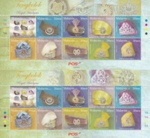 *FREE SHIP Royal Headgear Malaysia 2008 King Sultan Costumes (sheetlet) MNH