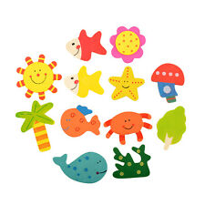12pcs 1Set Kids Baby Wood Wooden Cartoon Magnet Child Educational Toy Gift