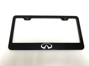 InfinitiLOGO Laser Style BLACK Stainless Steel License Plate Frame w/bolt caps