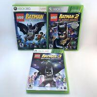 LEGO BATMAN 1 2 3 Trilogy XBOX 360 Game Lot DC Comics Beyond Gotham Bundle