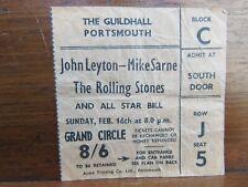 Rolling Stones Concert Ticket Stub Guildhall Portsmouth Feb 16th 1964 J Leyton