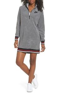 Nike Women's Archive French Terry Half Zip Dress Size M Gray Casual Long Sleev