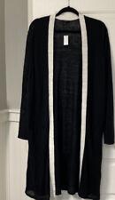 Nwt Talbots 2X Black With Cream Trim Linen Blend Long Cardigan Sweater