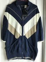 NEW MENS SEAN JOHN FULL ZIP NAVY MULTI JACQUARD CARDIGAN SWEATER S/S - 2XL XXL