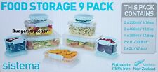 SISTEMA 9 Pack Plastic Storage Containers  Stackable, Microwave and Freezer Safe