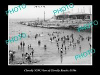 OLD POSTCARD SIZE PHOTO OF CLOVELLY NSW VIEW OF CLOVELLY BEACH c1930s