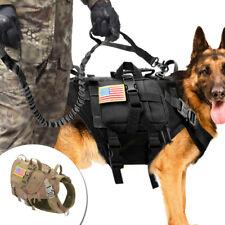 Large Tactical Dog Harness+Detachable Bag+Lead Molle Military Vest Dobermans M L