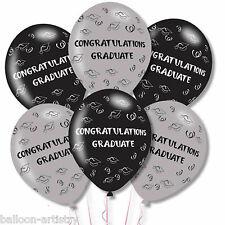 6 Congratulations Graduate Graduation Party Grey Black Printed Latex Balloons
