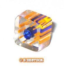 10 Perles Carré verre pop bleu ligné orange 6x10mm