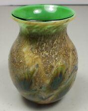 """Green & Beige Vining Leaves Hand Blown Art Glass 3"""" Mini Vase Signed Lotton 1993"""