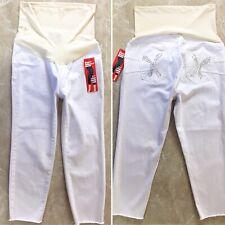 S.O.N.G Maternity Jeans Large White Ankle Skinny Denim Full Panel Over Belly New