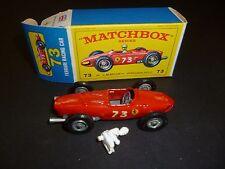VINTAGE MATCHBOX #73 FERRARI RACING CAR E-4 MODEL LESNEY IN ORIGINAL BOX.