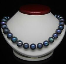 """CHARMING 18"""" 10-11MM TAHITIAN BLACK BLUE NATURAL PEARL NECKLACE 14K GOLD CLASP"""