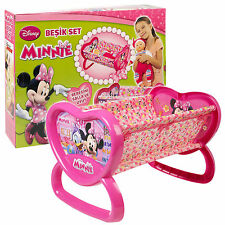 Minnie Mouse Girls Pink Rocking Dolls Toy Cot Cradle Crib Bed Pretend Role Play