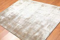 "4'8"" x 6'4"" Handmade Sheen 100% Bamboo Silk Area Rug Modern Brown"