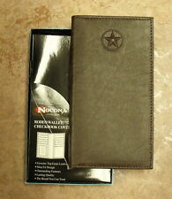 3cc5772cdab29 NOCONA TEXAS STAR BROWN LEATHER RODEO WALLET CHECKBOOK COVER