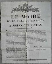 Marquis TERRIER-SANTANS Le Maire de la Ville de BESANCON à ses Concitoyens 1816
