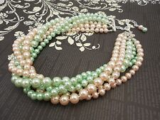 Multi Strand Choker Style Necklace with Blush Peach Pink and Mint Green Glass Pe