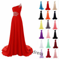 One Shoulder Long Chiffon Bridesmaid Formal Ball Gown Party Evening Prom Dresses