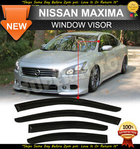 For 2009-2015 Nissan Maxima Smoked Acrylic Window Visor Deflectors Rain Guards
