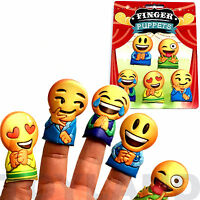 5 x EMOJI SMILE FACE FINGER PUPPETS BOY GIRL TOY LOOT BIRTHDAY PARTY BAG FILLER